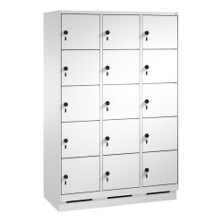 """S 3000 Evolo"" Lockers with Base (5 Lockers Positioned Vertically) Light grey (RAL 7035), 180x90x50 cm/ 15 compartments"