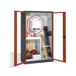 Sports Equipment Cabinet, HxWxD 195x120x50 cm, with Acrylic Glass Double Doors (Type 1) Light grey (RAL 7035), Light grey (RAL 7035)