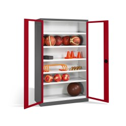 Ball Cabinet, HxWxD 195x120x50 cm, with Acrylic Glass Double Doors (Type 3) Ruby red (RAL 3003), Anthracite (RAL 7021)