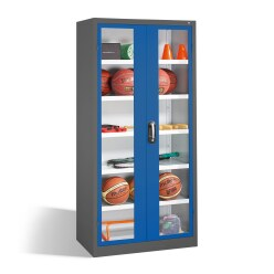 Ball Cabinet, HxWxD 195x93x50 cm, with Acrylic Glass Double Doors (Type 3) Ruby red (RAL 3003), Anthracite (RAL 7021)