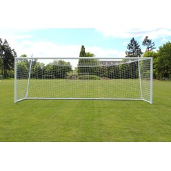 Sport-Thieme Full-Size Stadium Goal 7.32x2.44m, White, Free-Standing, with Integrated Net Attachment and SimplyFix