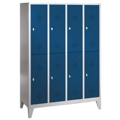 """""""S 2000 Classic"""" Double Lockers with 150-mm-high Feet Gentian blue (RAL 5010), 185x119x50 cm/ 8 shelves"""