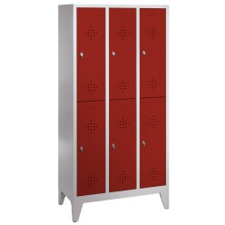 """""""S 2000 Classic"""" Double Lockers with 150-mm-high Feet Light grey (RAL 7035), 185x81x50 cm/ 4 shelves"""