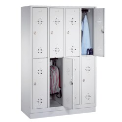 """""""S 2000 Classic"""" Double Lockers with 150-mm-high Feet Light grey (RAL 7035), 180x119x50 cm/ 8 shelves"""